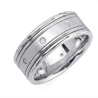 85mm Mens White Gold Diamond Wedding Bands List Price 349500