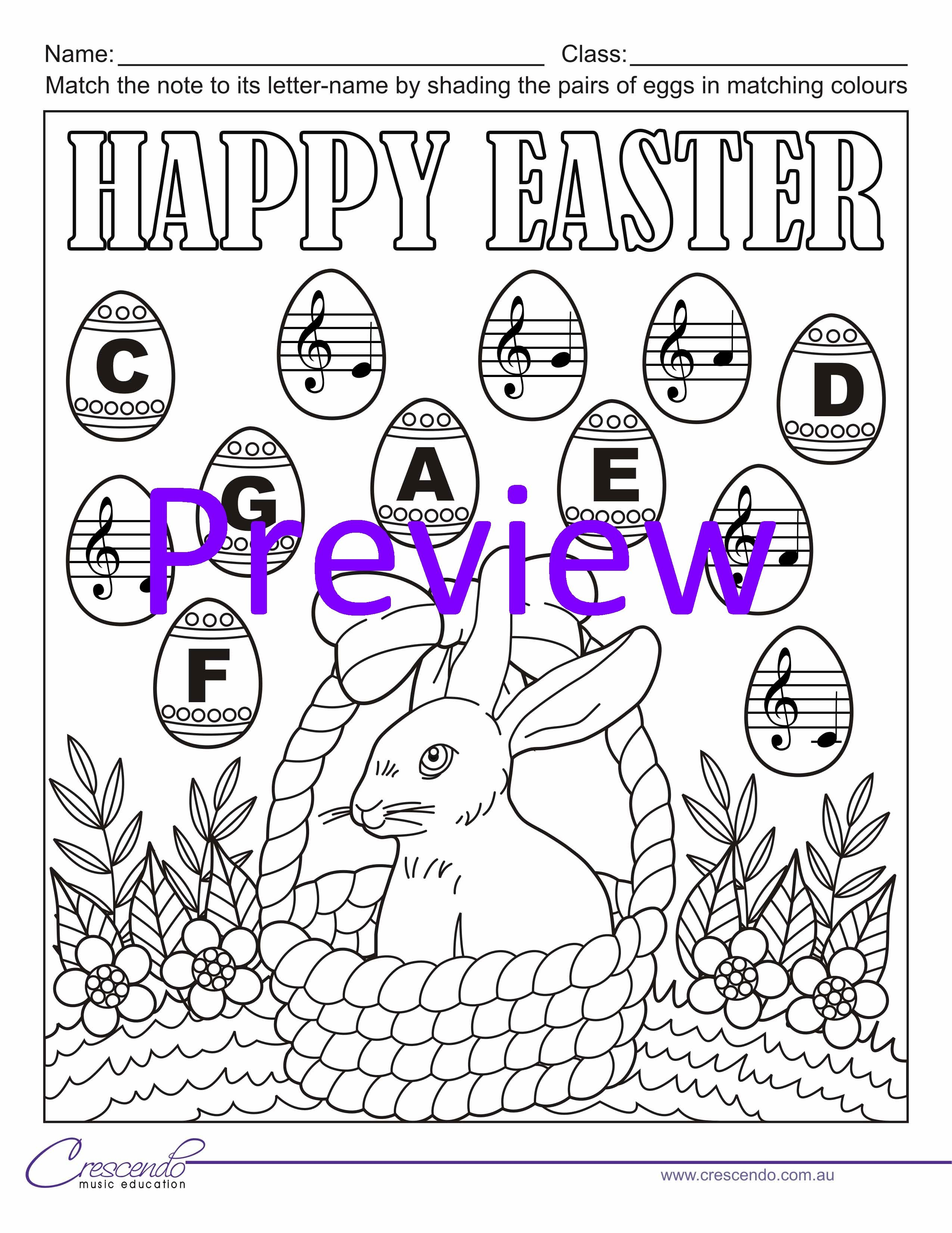 Colour By Note Activities For Easter Free For Crescendo