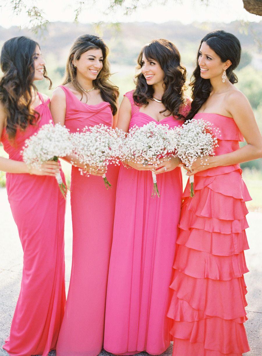 Elegant Coral + Gold Coto de Caza Wedding | Coral bridesmaid dresses ...