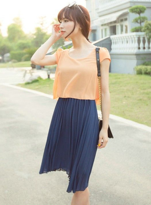Fashion Style Simulation II Slim Pleated Chiffon Casual Dress