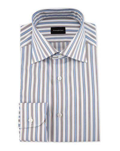 ERMENEGILDO ZEGNA BOLD MULTICOLORED STRIPED DRESS SHIRT, BLUE. #ermenegildozegna #cloth #