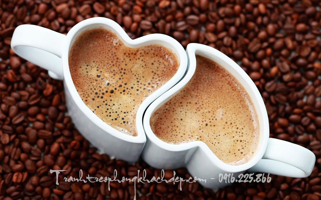Mẫu tranh tách cafe tình yêu một tấm rất đẹp