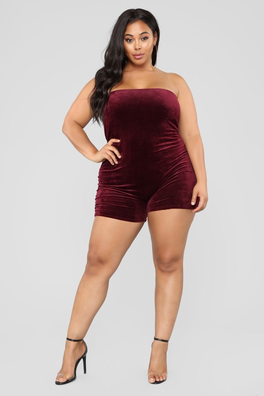 e8e630bcdaa5 Plus Size Buenos Aires Velour Romper - Burgundy  19.99  ootd  style   fashion