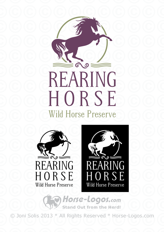 rearing horse logo horse with a long wild mane and a