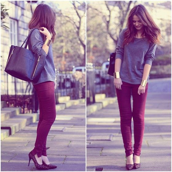 burgundy jeans and gold cuffs
