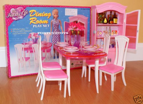 Gloria Furniture Dollhouse Classic Dining Room W Dining Table Playset FOR  Barbie