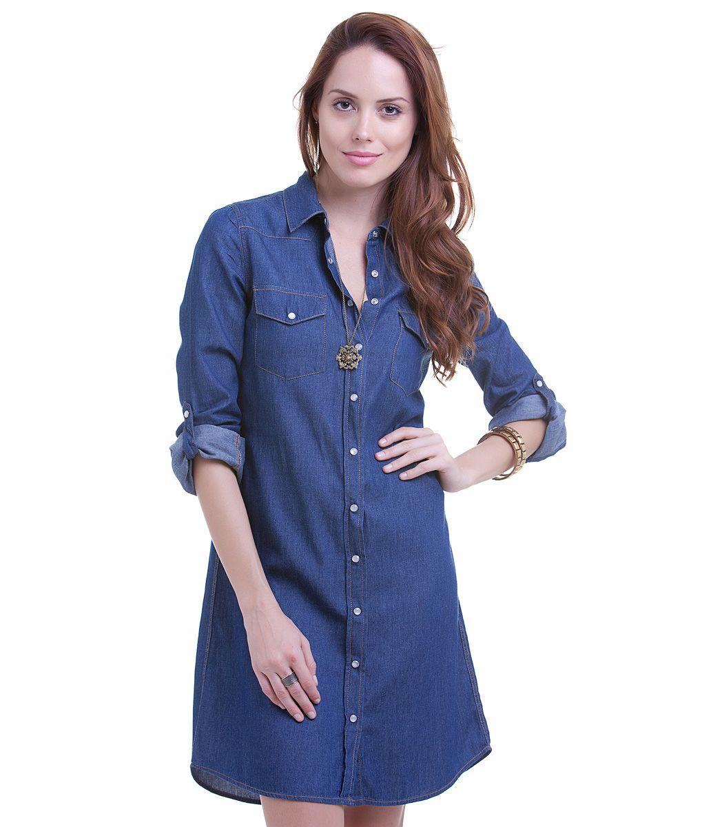 Vestido feminino jeans chemise