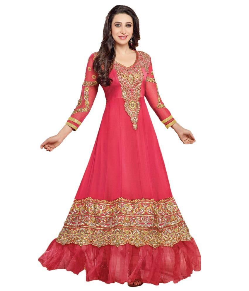 Indian Wholesale Clothing Red Faux Georgette Embroidered Anarkali ...