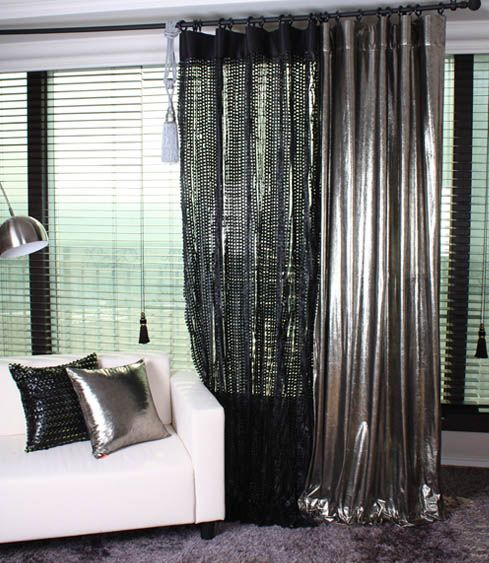Fab Handmade Silver Metallic Curtain Drapery Panel Room Divider Order To Made Modern Grey Living Room Home Decor Home