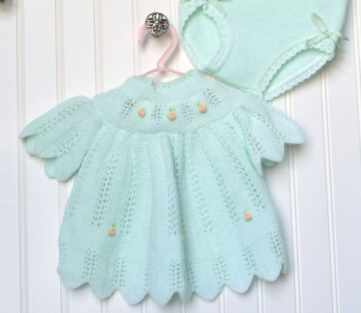 Vintage Baby Dress Bloomers Size 0 6 Month Clothes Mint Green