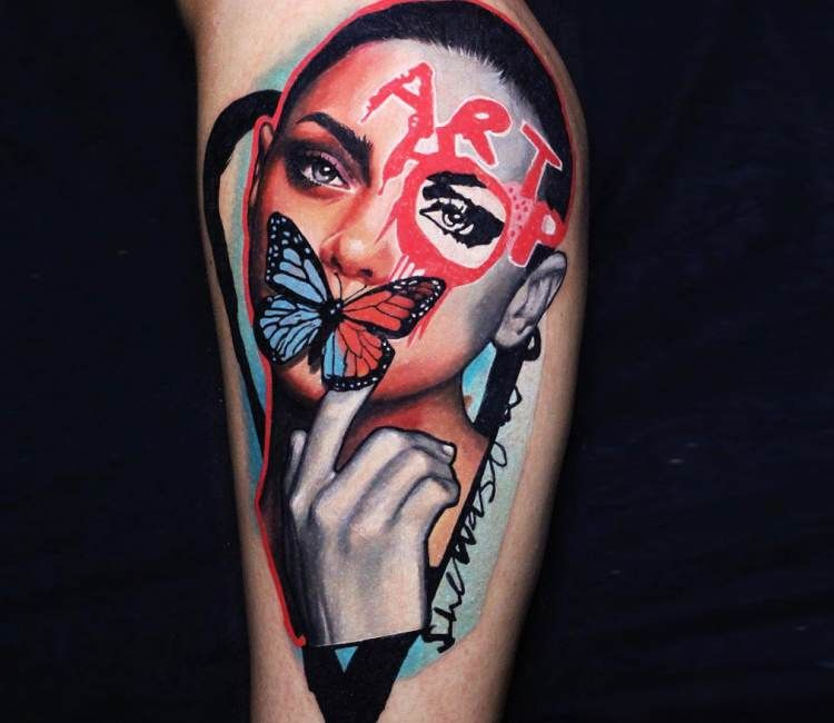 Girl Face With Butterfly Tattoo By Dave Paulo Butterfly Tattoo Tattoos Body Art Tattoos