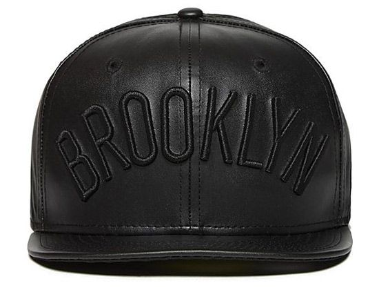 6b24bbda57006 Black Brooklyn Nets Leather 59Fifty Fitted Cap by NEW ERA