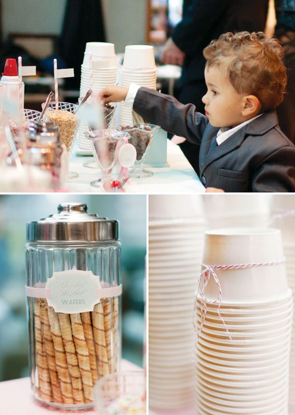 Vintage Ice Cream Parlor {Engagement Party} with waffle cone sleeves, monogrammed printables, glass cone cups, labeled syrup bottles & custom wooden spoons.
