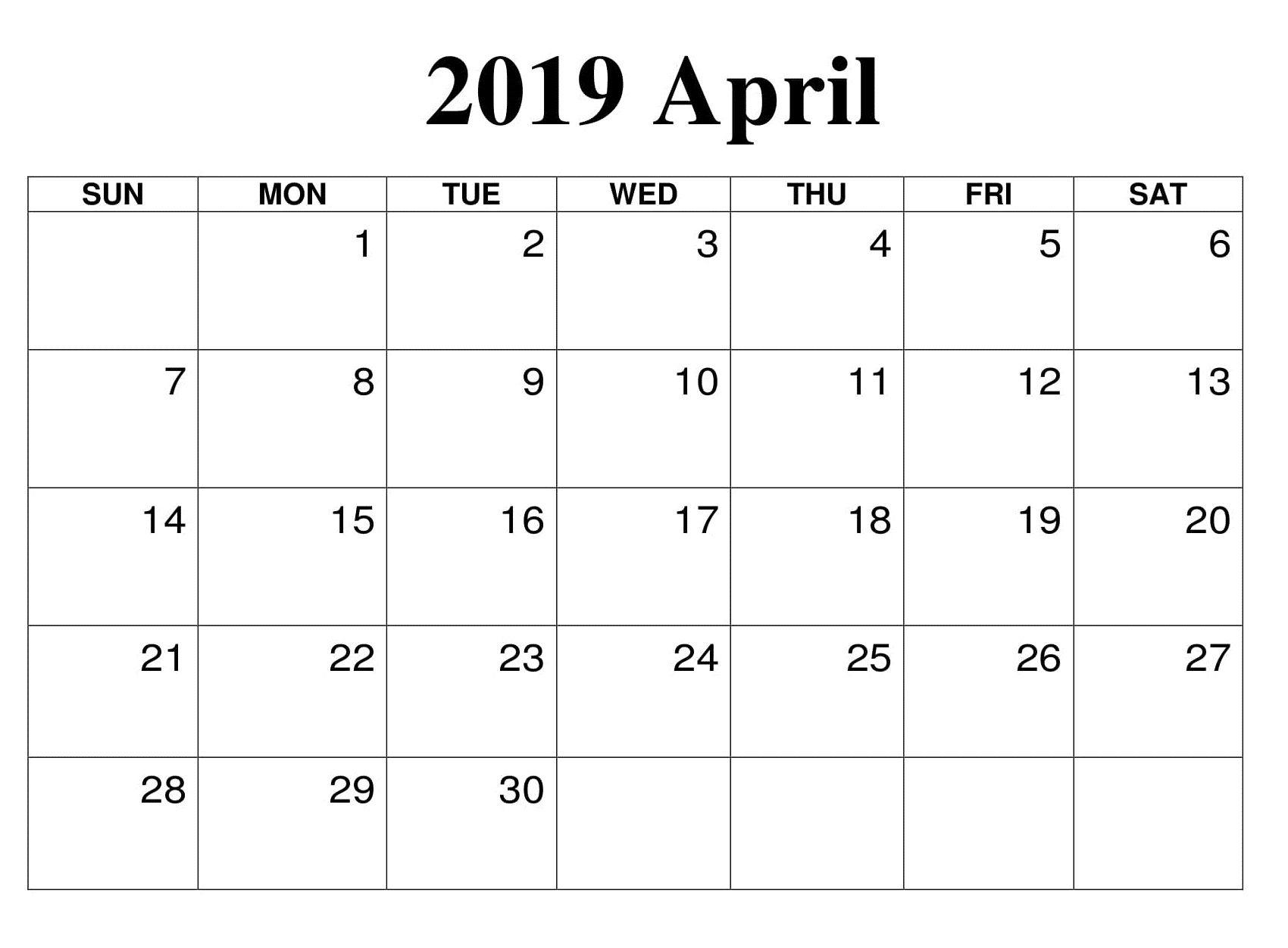Printable 2019 Calendar Australia April