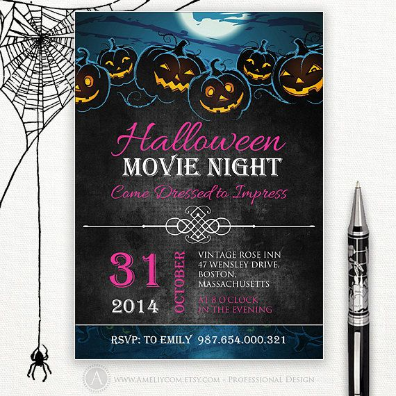 Printable Halloween Invitation Halloween Movie Night by