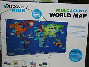 Discovery kids fabric activity world map with animals land water discovery kids fabric activity world map with animals land water stick ons ebay gumiabroncs Images
