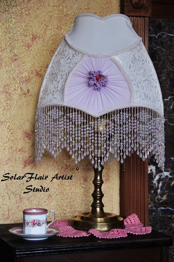 Victorian style lamp shade white panels with lace lavender victorian style lamp shade white panels with lace lavender rosettes with french trim and aloadofball Image collections