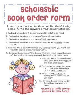 A Fun Activity To Use With The Monthly Scholastic Book Order Form