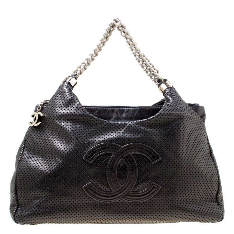 d1a30d8a76ff Chanel Black Perforated Leather Rodeo Drive Hobo in 2019 | Bags ...