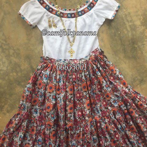 Hermoso juego  camisola polleron Vestidos Tipicos Panameños 3727294b046d