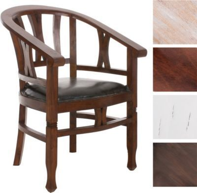 mahagoni holz stuhl erwin mit armlehne gepolstert mit echt leder handgefertigt kolonialstil. Black Bedroom Furniture Sets. Home Design Ideas