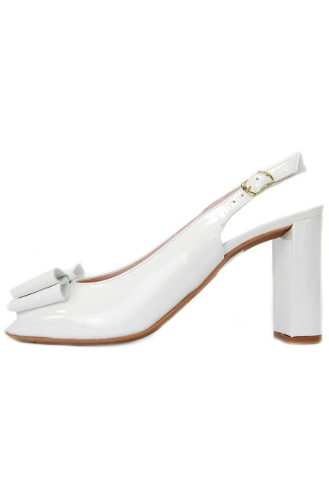 540c7293eb An Italian made white patent leather slingback by Le Babe with with a peep  toe,