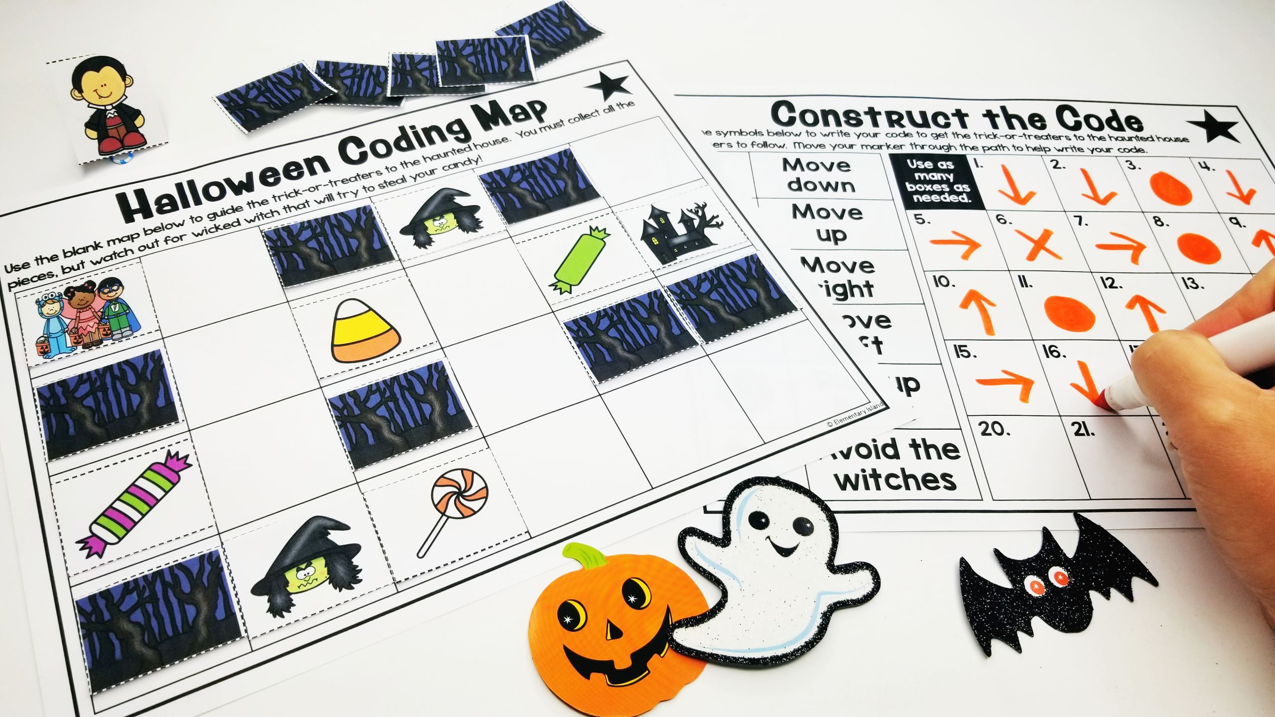 Halloween Unplugged Coding Worksheets Differentiated