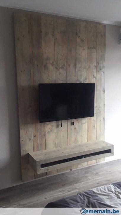 Tv Meubel Wand.Landelijk Concept Tv Meubel Met Houten Wand In Steigerhout Avec