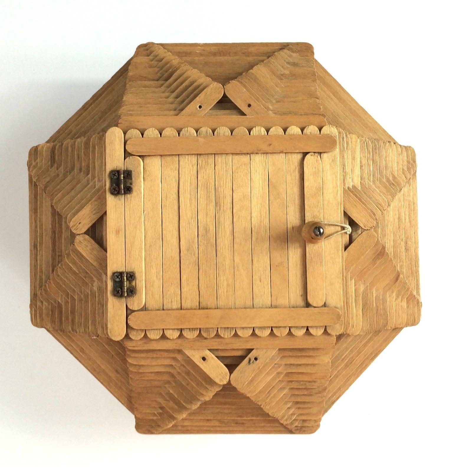 Vintage C.1960 Folk Art Wood Popsicle Stick Sewing Basket