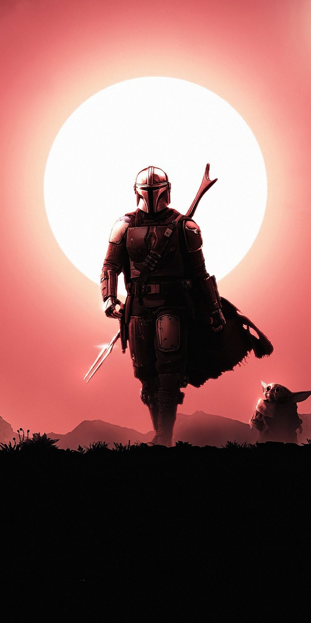 1080x2160 Soldier, The Mandalorian, silhouette, art, 2020