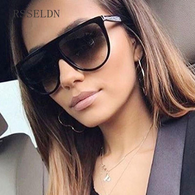 7032d1c28d RSSELDN Nouveau Noir Clair Surdimensionné Carré lunettes de Soleil Femmes  Gradient 2018 D'été Style Classique Femmes lunettes de Soleil Grande Place  UV400