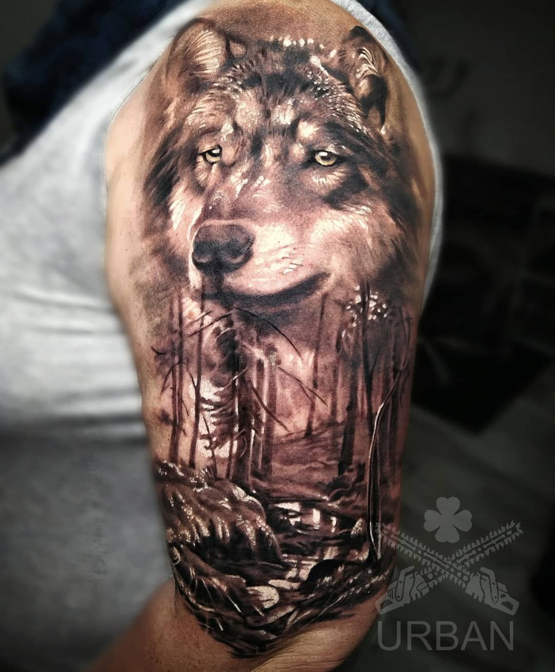 25 Tribal Wolf Chest and Shoulder Tattoo Ideas for 2020