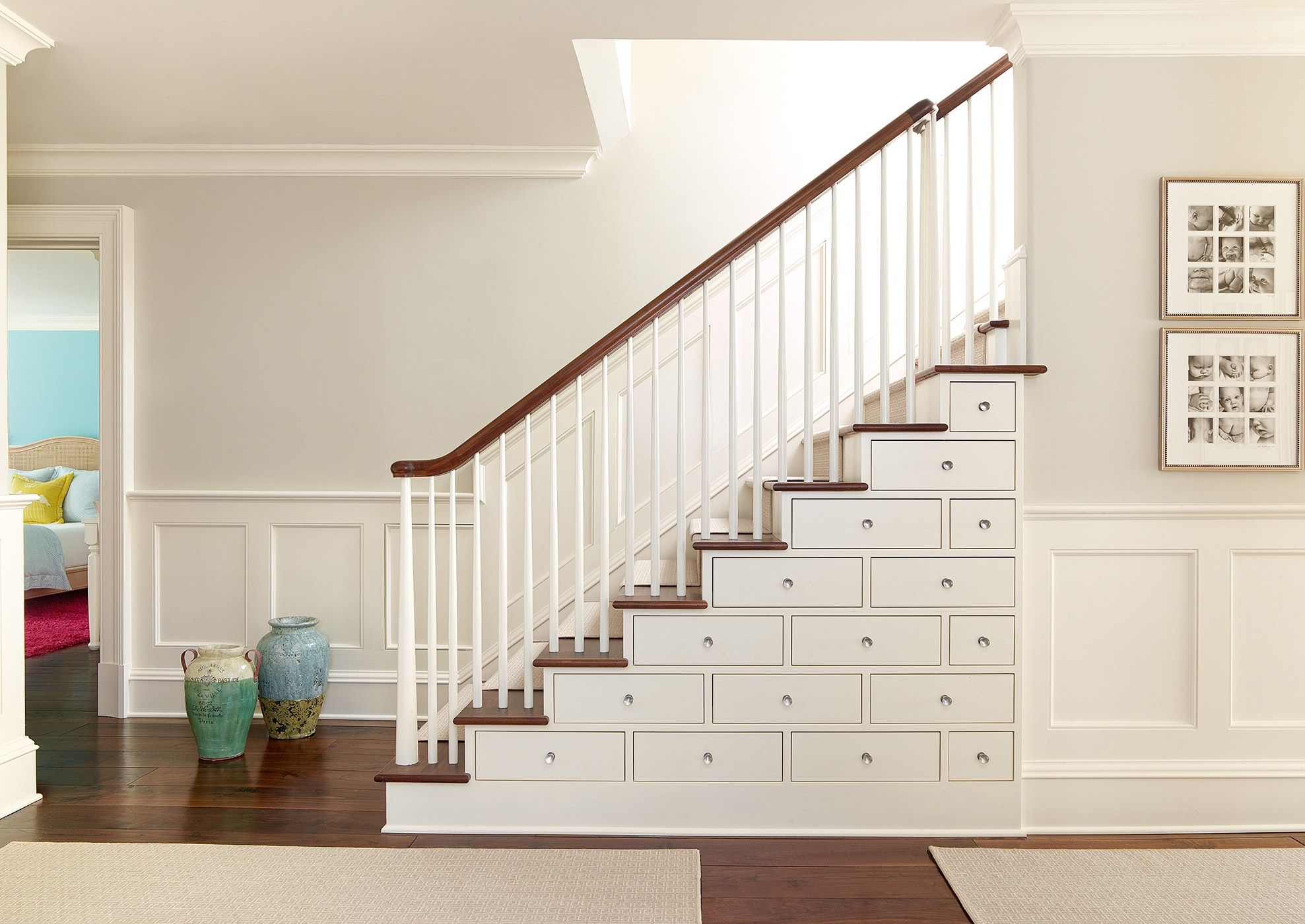 Stair With Built In Drawers, White Balusters And Walnut Rail