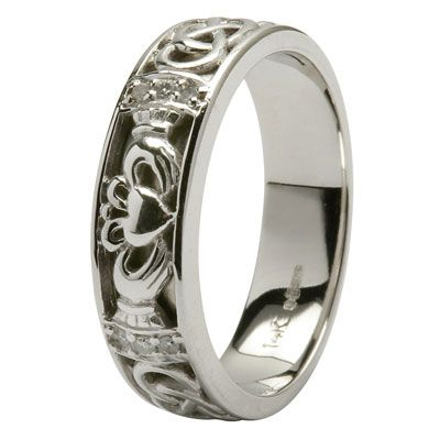 White Gold Claddagh Wedding Ring Las Diamonds Set With Celtic Knotwork