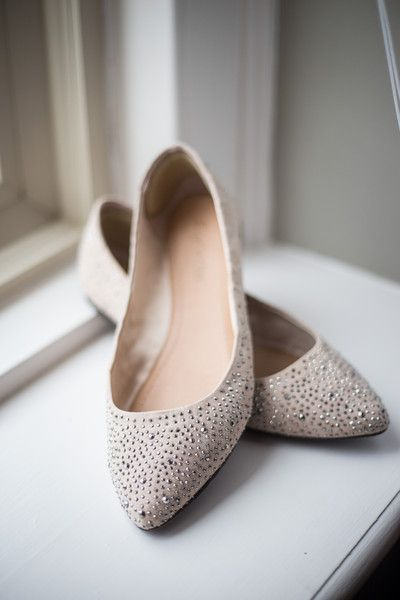 Pointed toe flats with silver beading are a glam yet comfortable choice for any bride! {@Jryanphoto10}