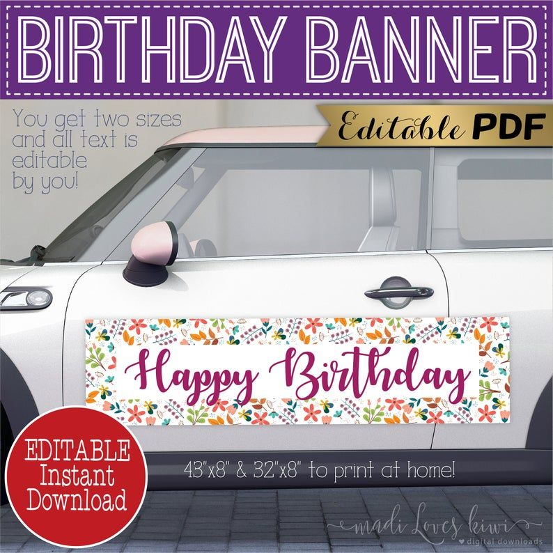 Editable Happy Birthday Banner for Car Parade Printable | Etsy