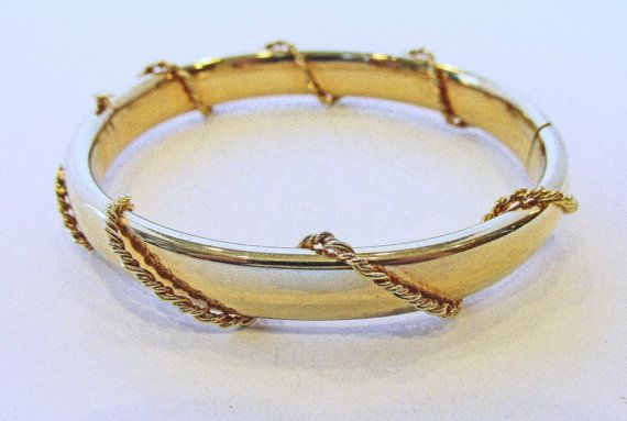 Marvelous Vintage 1960s Gold Toned Bangle by GildedTrifles on Etsy