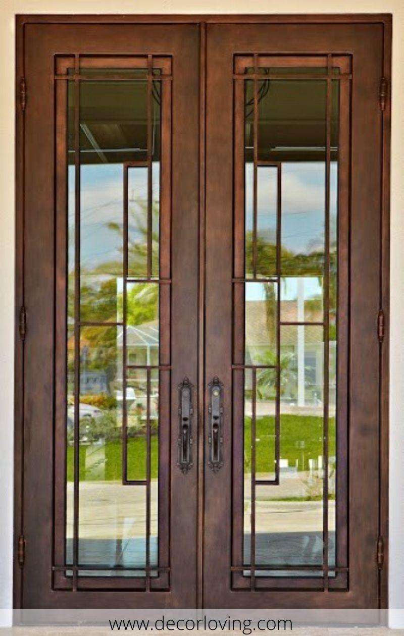 Contemporary Entrance Iron Doors In Simple Design In 2020 Wrought Iron Doors Iron Doors Wrought Iron Front Door