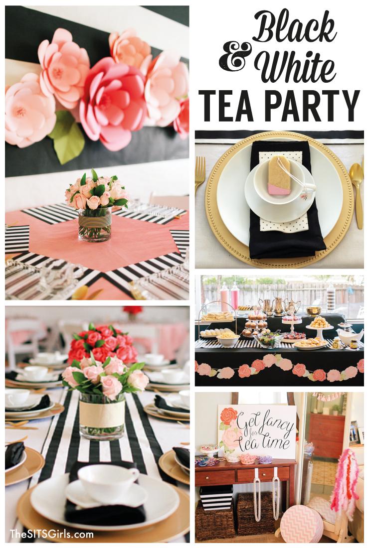 Black white tea party girl birthday afternoon tea and for High tea decor ideas