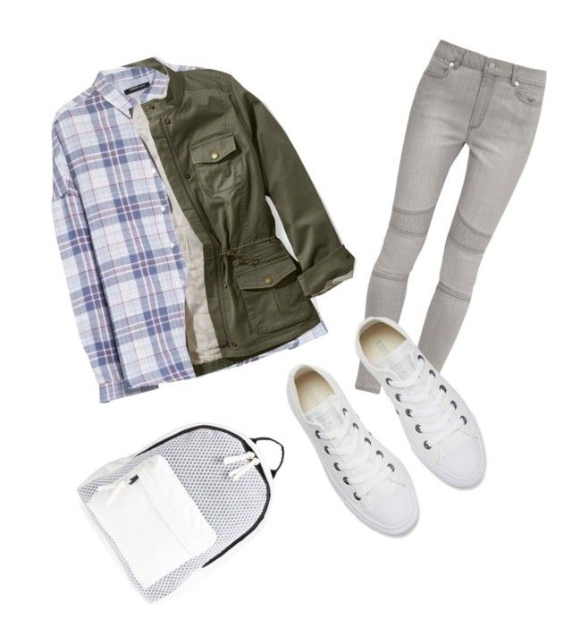 """""""School Day"""" by sothro ❤ liked on Polyvore featuring MANGO, L.L.Bean, French Connection, Converse and Poverty Flats"""