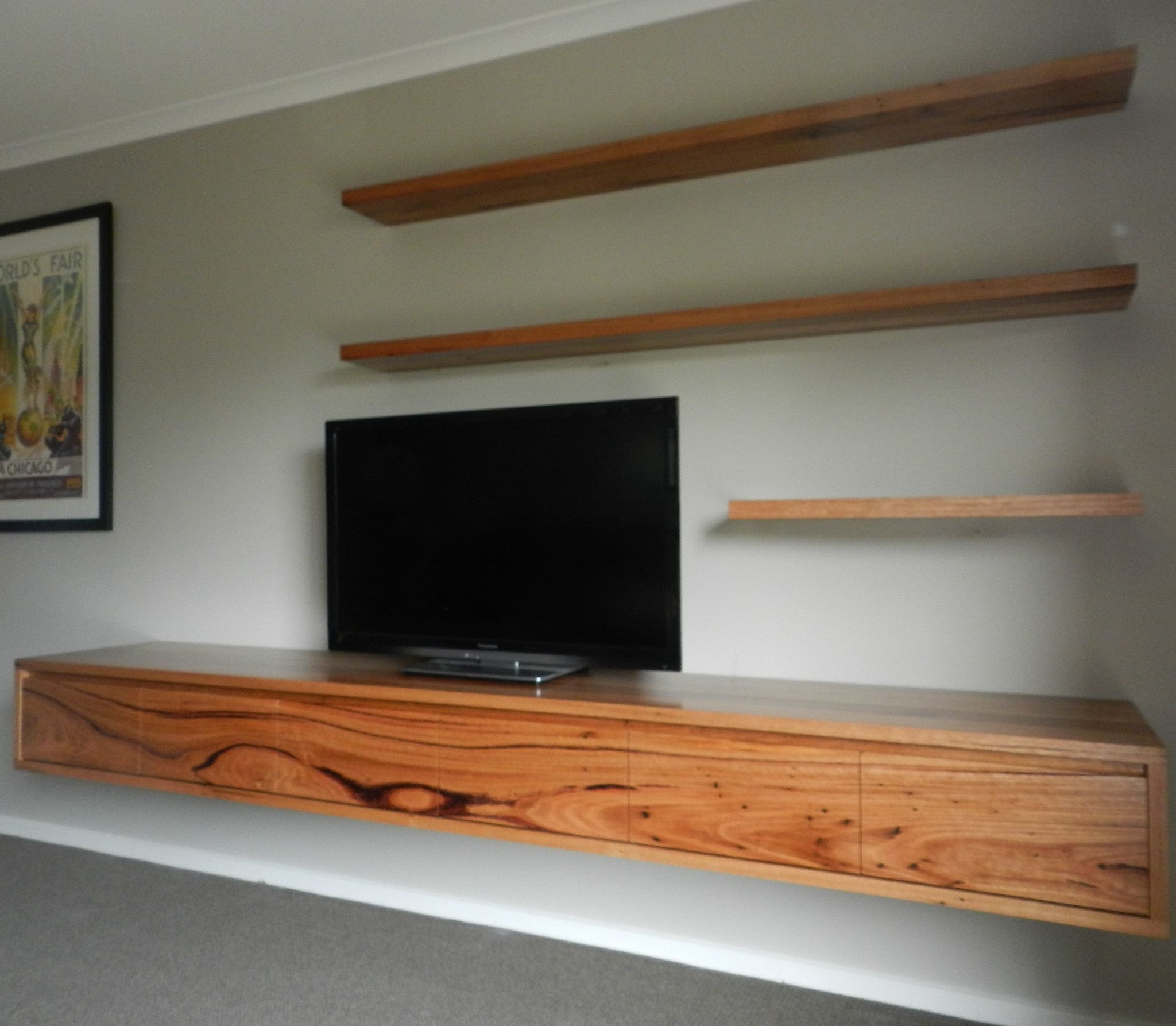 You really notice the timber grain in this floating morgan tv unit