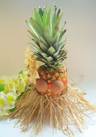 "Luau Centerpiece With Pineapple | Centerpieces - ""Pineapple Hula Girl"""