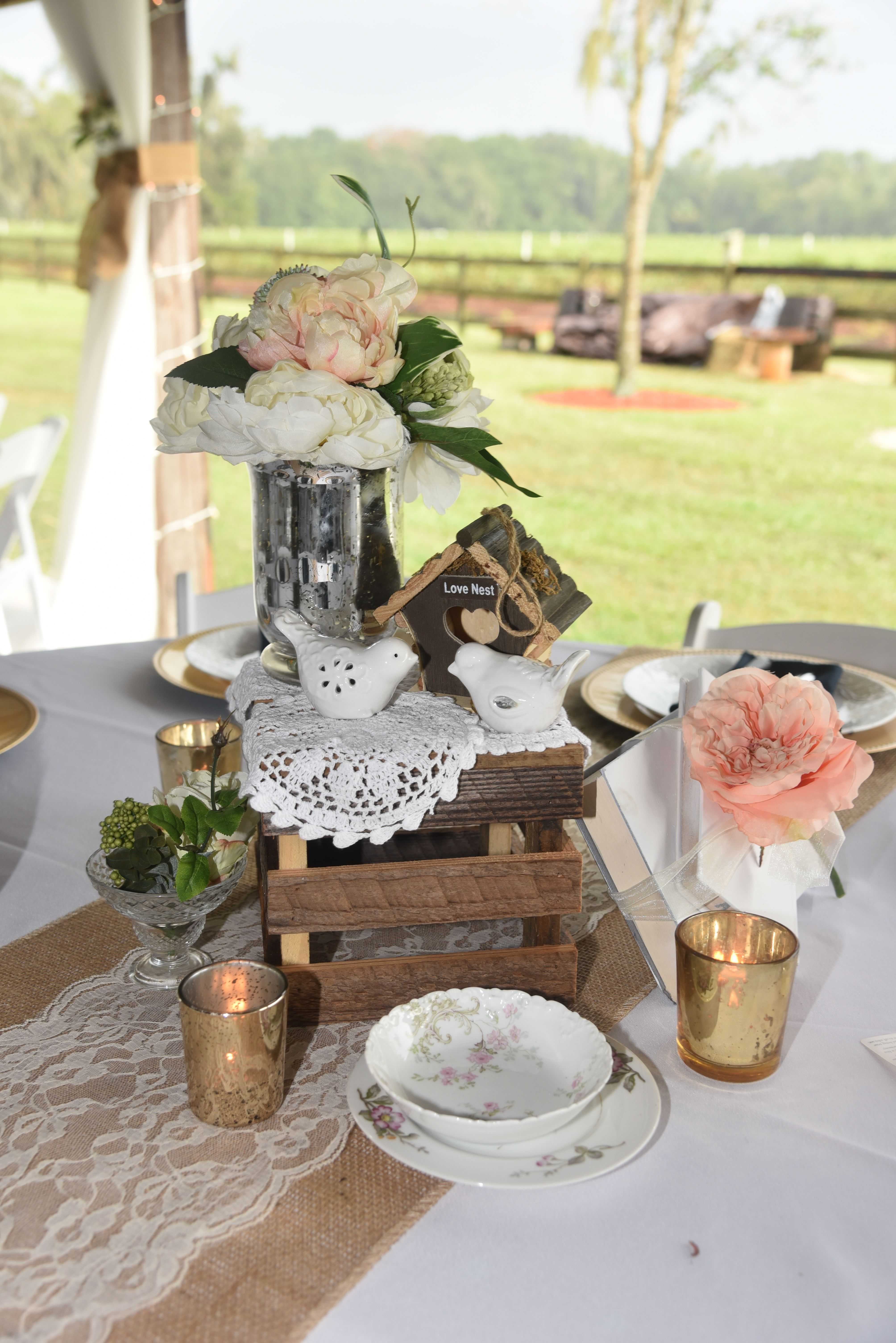 Vintage, Elegant Table Design, Wood Crate, Antique China, Peach Peony,