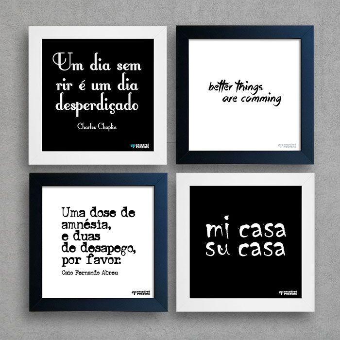Kit Frases Preto E Branco Quadros