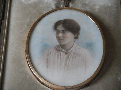 Edwardian portrait miniature in cased frame with easel