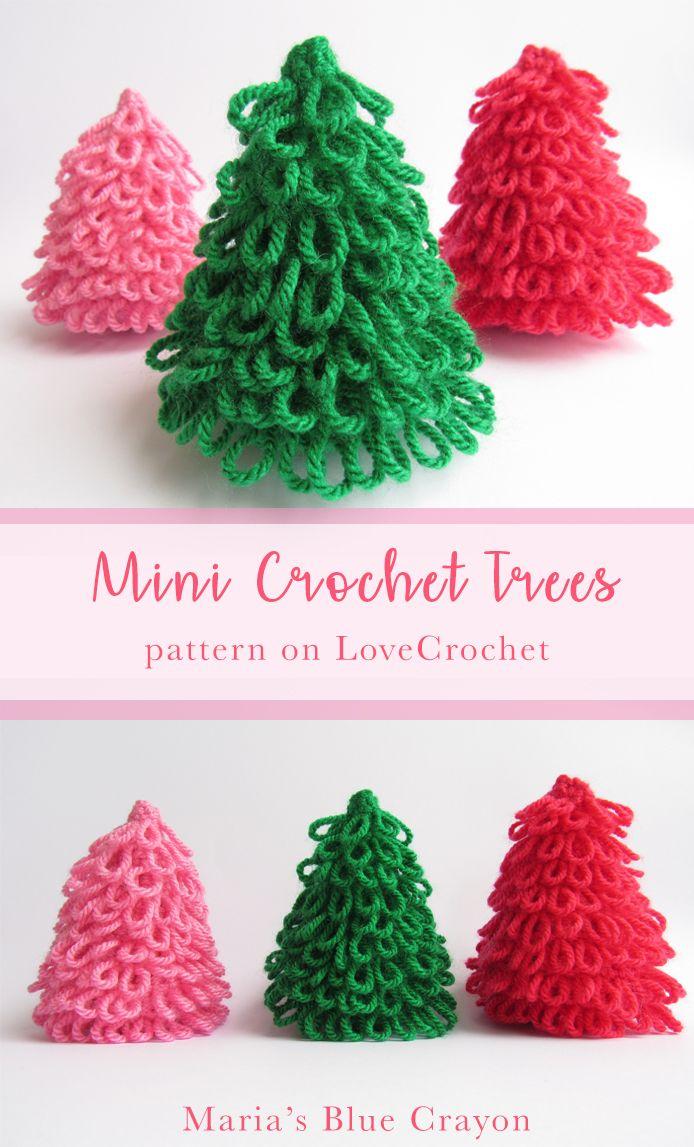 Mini Trees Decor Maria S Blue Crayon Free Crochet Patterns