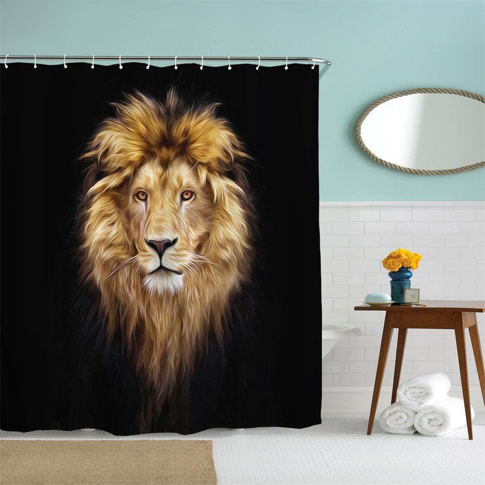 Golden Lion King Polyester Shower Curtain Bathroom Curtain High