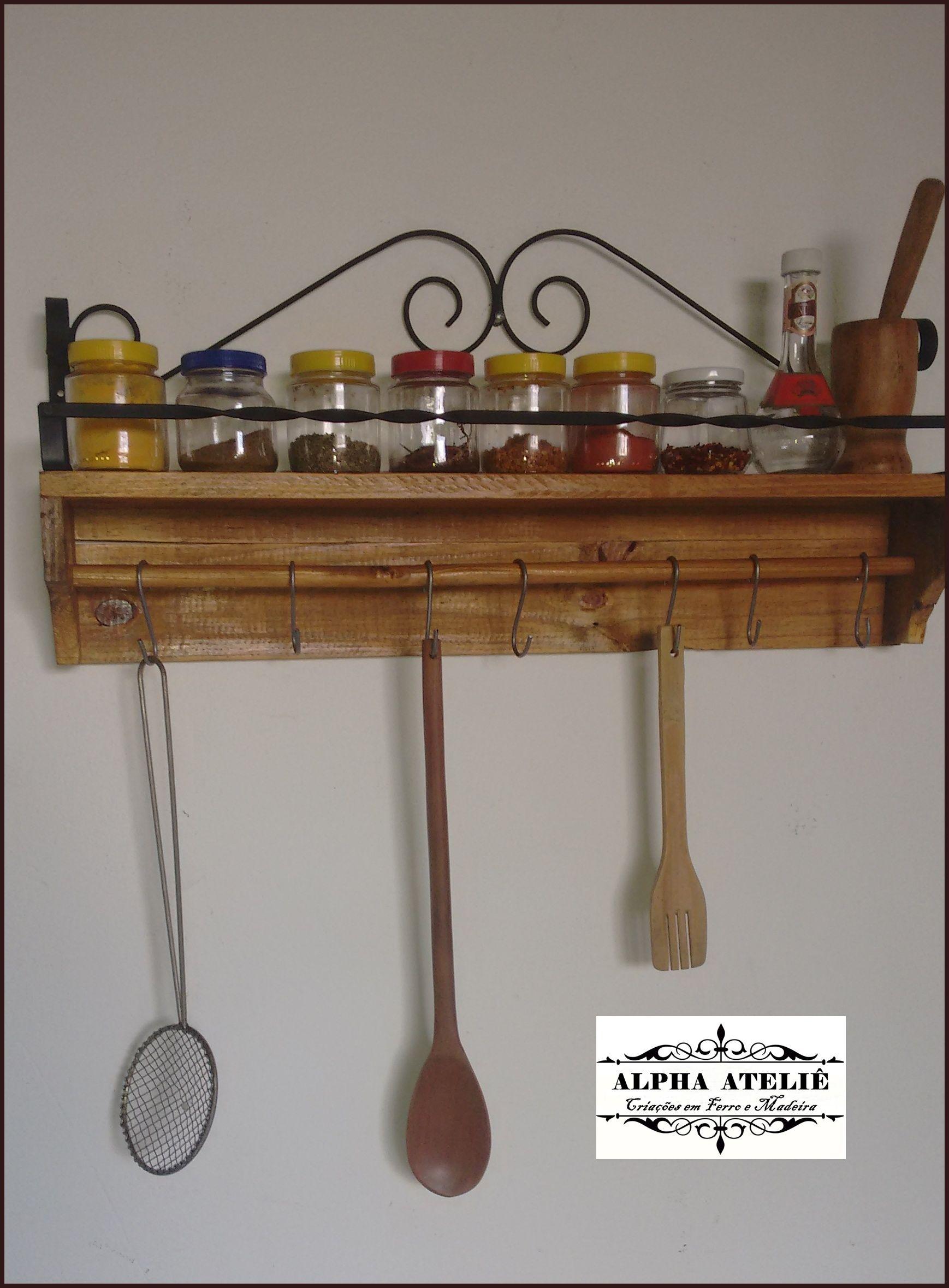 Preferência porta temperos feito com madeira de palet | prateleira de ferro  RL47