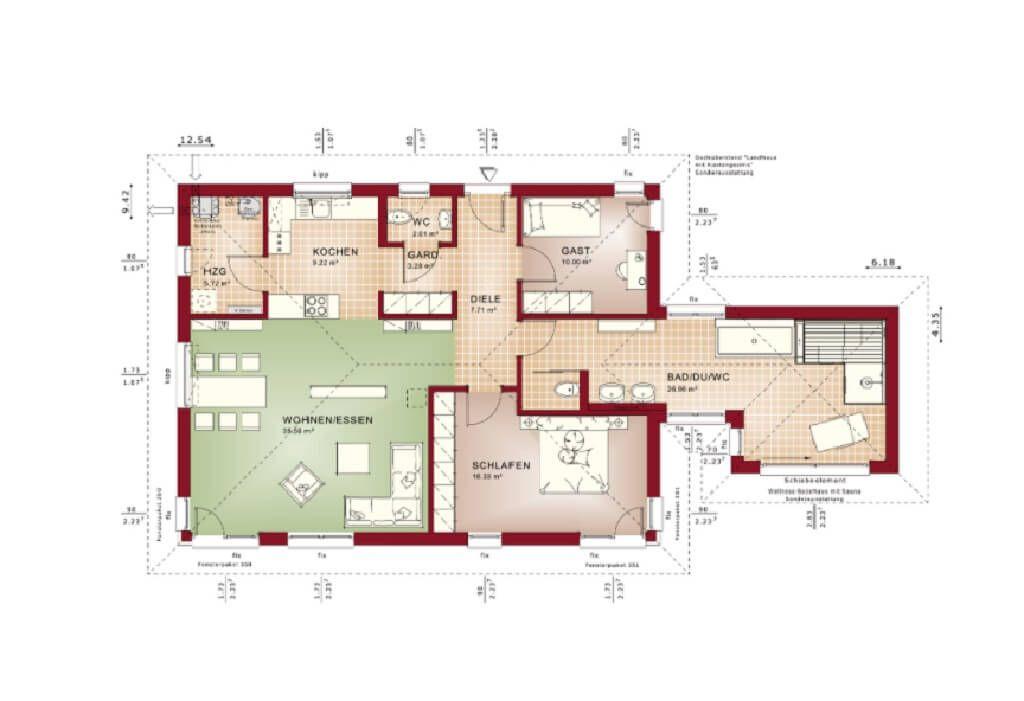 Bungalow Grundriss Haus Evolution 100 V5 Bien Zenker