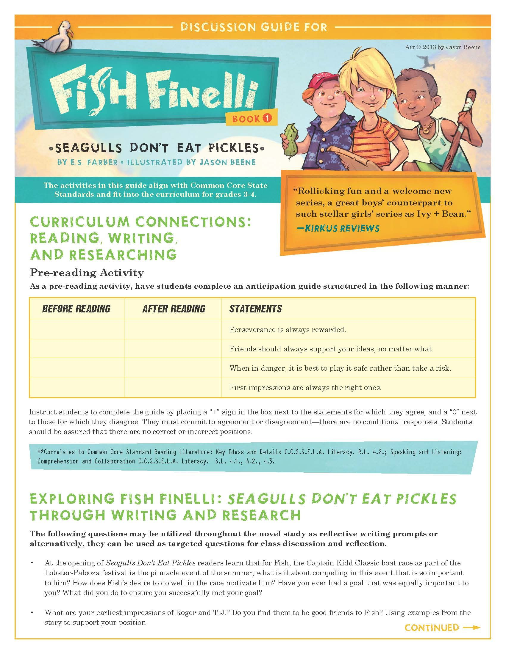 Discussion Guide For Fish Finelli That Is Aligned To Common Core
